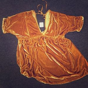 Velvet gold dress. Brand new with tags!